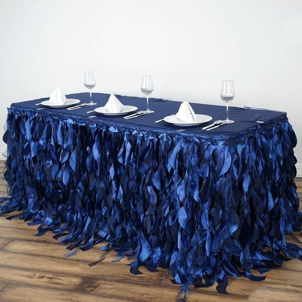 Enchanting Willow Taffeta Table Skirt Navy 21'