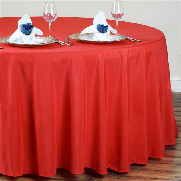 Polyester Round Tablecloth Red