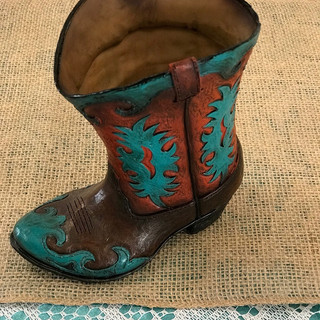 Teal Cowboy Boot - Ceramic Vase