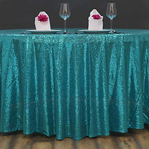 Sequin Round Tablecloth Turquoise