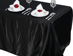 Satin Rectangle Tablecloth Black