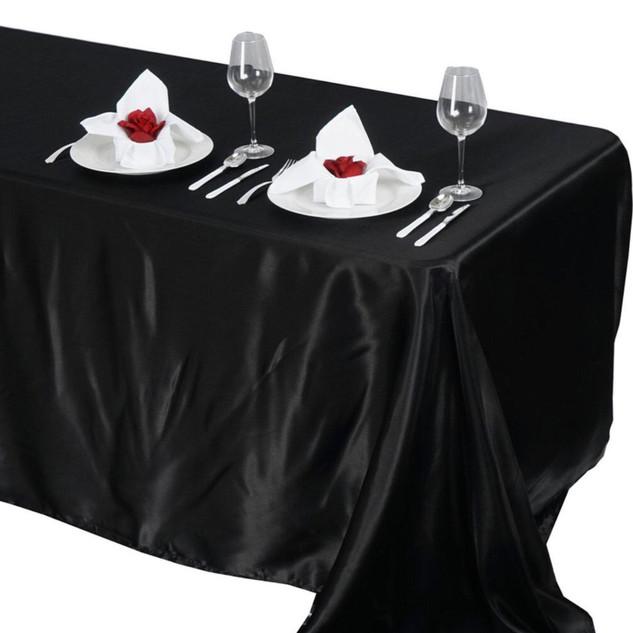 Satin Rectangle Tablecloth Black