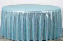 Sequin Round Tablecloth Serenity Blue