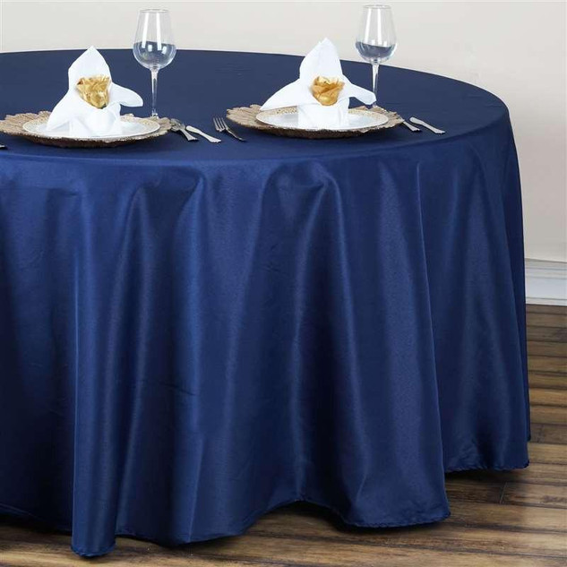 Polyester Round Tablecloth Navy