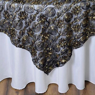 72inch Tulle Satin Couture Overlay Black