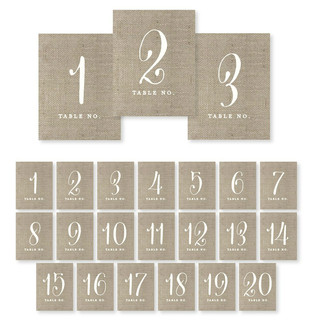 Table Numbers Set 1-20 Rustic Burlap