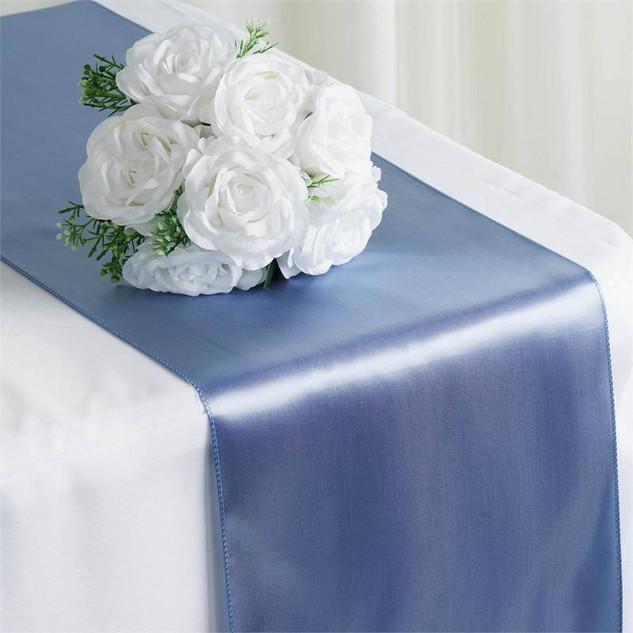 Satin Table Runner  Serenity Blue