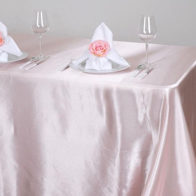 Satin Rectangle Tablecloth Pale Blush