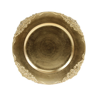 """Flower Stud Acrylic Gold Charger Plate 13"""""""
