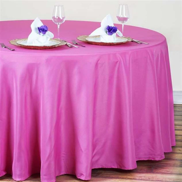 Polyester Round Tablecloth Fuchsia