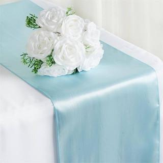 Satin Table Runner  Light Blue