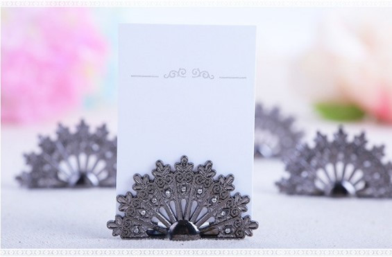 Place Card Holder - Pewter Peacock