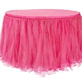 Sequin Tulle Table Skirt Fuchsia