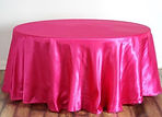Satin Round Tablecloth Fuchsia