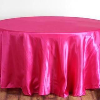 Satin Round Tablecloth Fuchsia