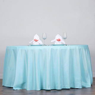 120inch Polyester Round Tablecloth Light Blue