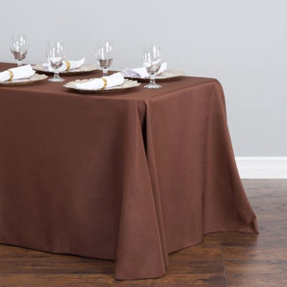 90x156 inch Polyester  Tablecloth Chocolate