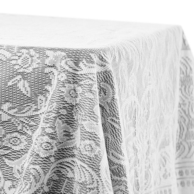 "60"" x 120"" Quaker Lace  Rectangle Overlay White"