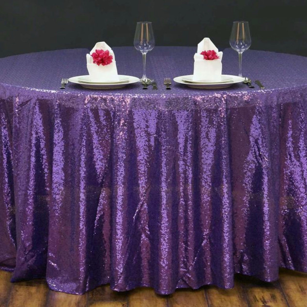 Sequin Round Tablecloth Purple