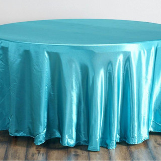 Satin Round Tablecloth Turquoise