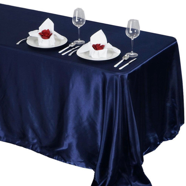 Satin Rectangle Tablecloth Navy