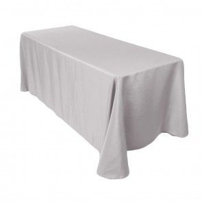 90x156 Polyester Rectangle Tablecloth Silver