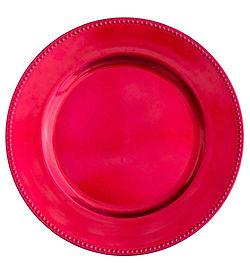 "Acrylic Fuchsia Beaded Charger Plate 13"""