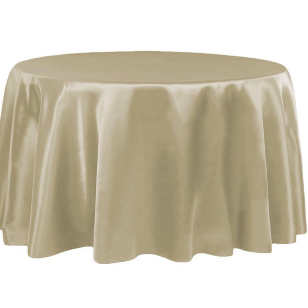 Satin Round Tablecloth Taupe