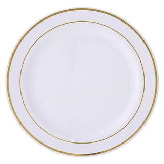 Plastic Dinner Plate White & Gold