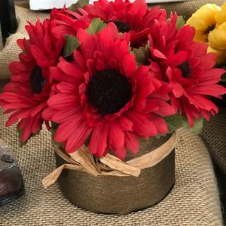 Autumn Sunflowers Red