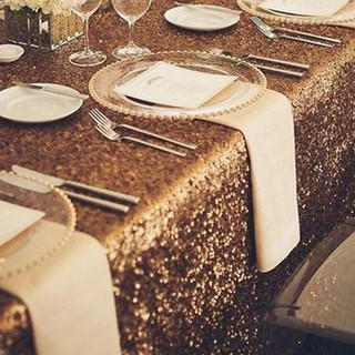 Sequin Rectangle Tablecloth Gold