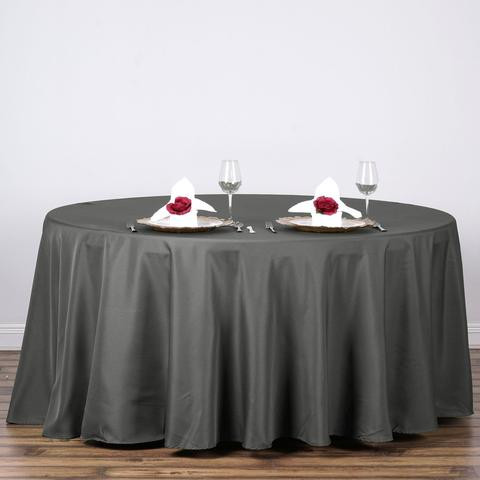 Polyester Round Tablecloth Charcoal