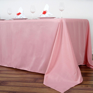 90x156 inch Polyester  Tablecloth Rose Quartz
