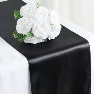 Satin Table Runner  Black