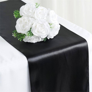 Satin Table Runner  Black
