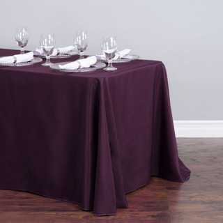 90x156 inch Polyester  Tablecloth Eggplant