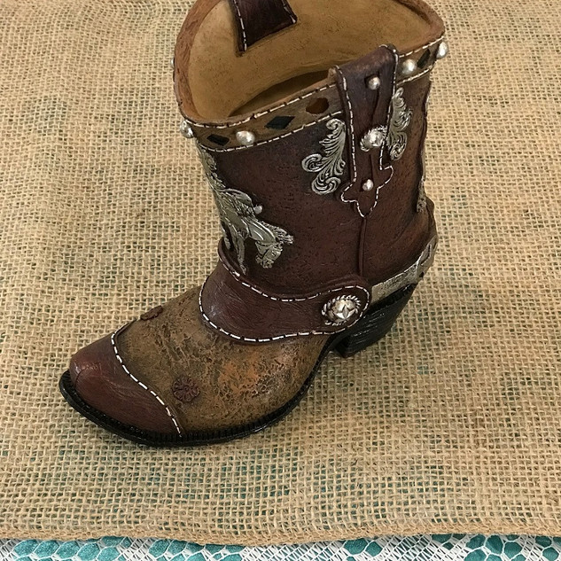 Brown Cowboy Boot - Ceramic Vase
