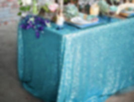 Sequin Rectangle Tablecloth Turquoise