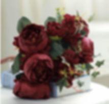 Peony Rose Hydrangea Bunch Burgundy