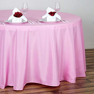 120inch Polyester Round Tablecloth Pink