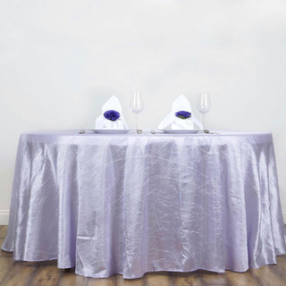 117 Inch Round Crinkle Taffeta Tablecloth Lavender