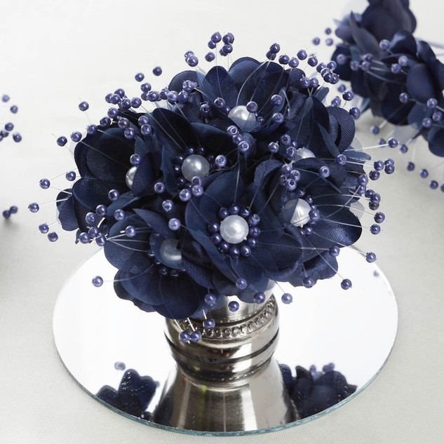 Accent Flowers - Navy & Faux Pearl