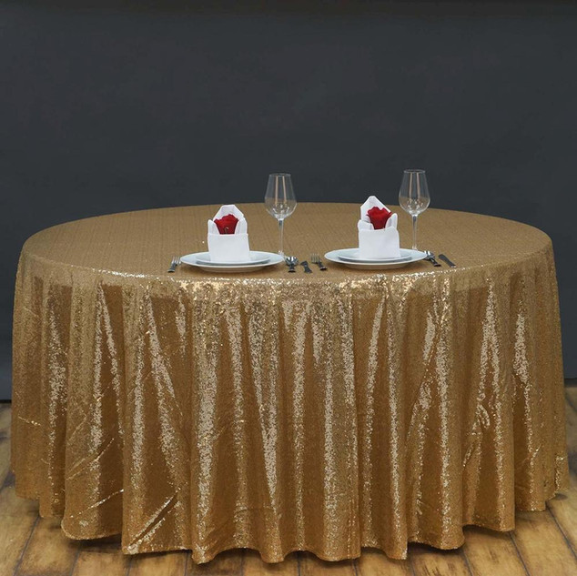 Round Sequin Tablecloth Gold