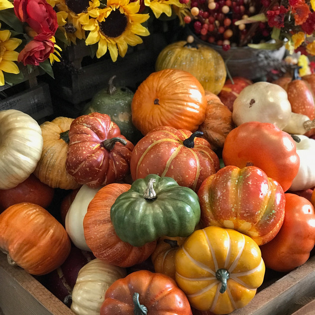 Assortment of Decorative Pumpkins & Gourds