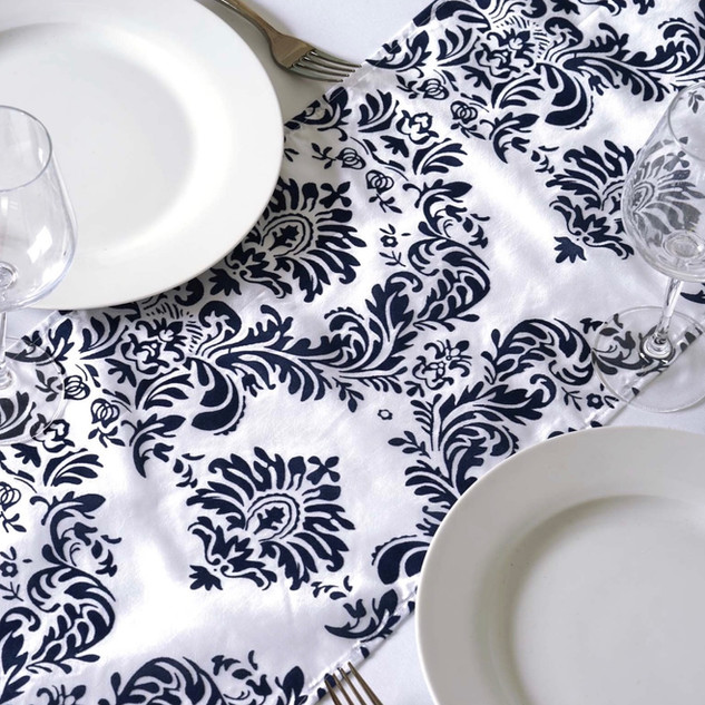 Damask Taffeta Runner Flocking White & Navy
