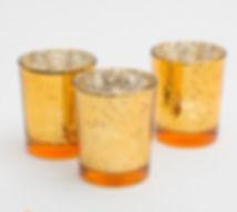 Mercury Glass Votive Holder Amber Gold