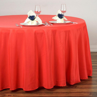 120inch Polyester Round Tablecloth Coral