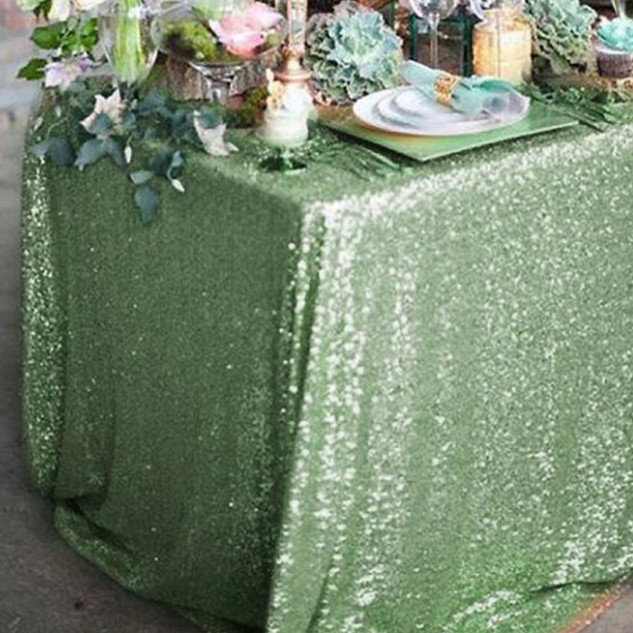 Sequin Rectangle Tablecloth Tea Green