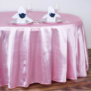 Satin Round Tablecloth Pink