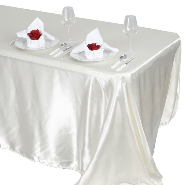 Satin Rectangle Tablecloth Ivory